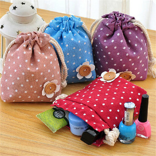 1pc Polka Dot Small Storage Sack Floret Rope pull-pouch Clot