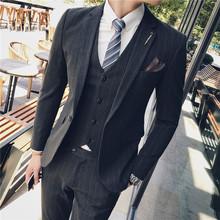 正装 修身 男三件套条纹休闲小西装 西服套装 韩版 新郎帅气结婚礼服潮