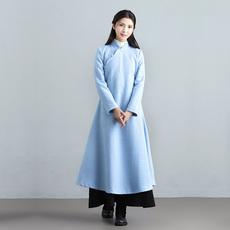 素飞秋冬新款汉服女改良文艺复古中式长袖毛呢连衣裙女a字裙长裙