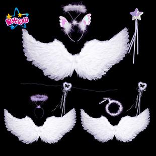 天使翅膀 白色羽毛燕形翅膀成人儿童表演 万圣节道具新娘花童装扮