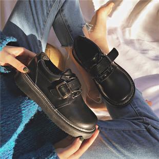 2018新款韩版ulzzang软妹ins小皮鞋女英伦学生复古chic加绒棉鞋女