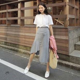 日本购2017夏季韩版学生复古黑白格子不规则鱼尾裙高腰中长棉麻半