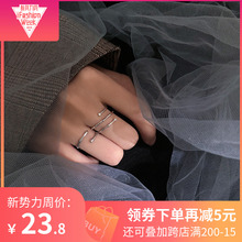 S925 Silver Slab Opening Index Finger Ring Female Korean Edition Simple Cold Wind Fashion Net Red Student Personality Fresh