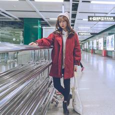 青蔷薇 冬季韩版棉服中长款宽松bf原宿风外套加厚学生棉衣女 W428