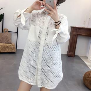 夏女棉麻长袖衬衫中长款衬衫韩版休闲气质刺绣镂空亚麻上衣防晒衣