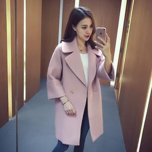 2016秋冬季新款韩版宽松茧型毛呢外套女翻领中长款纯色呢子大衣潮西装外套