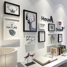 现代简约创意北欧客厅餐厅相片墙照片墙个性 家居守咀柏饰相框墙