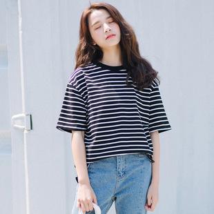學院風2019夏季新款短袖黑白條紋t恤女韓版ins潮學生寬松純棉體恤