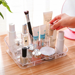 透明分格化妆品收纳盒桌面塑料化妆盒梳妆台化妆刷口红盒子