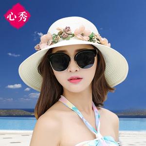 帽子女夏天韩版百搭遮阳防晒帽可折叠草帽太阳帽海边沙滩帽渔夫帽遮阳帽