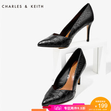 CHARLES&KEITH尖头细高跟鞋CK1-60360729浅口女鞋蛇纹奥赛鞋