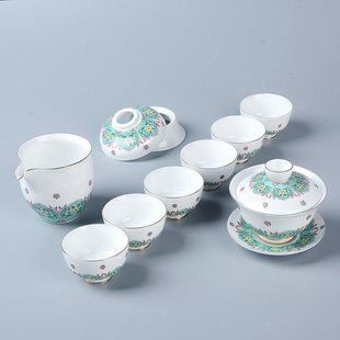 High - grade painted gold enamel tea set can be printed on t
