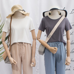 菲尔丹 垂滑质感莫代尔短袖T恤女 小性感美背显瘦修身<span class=H>上衣</span>夏8376