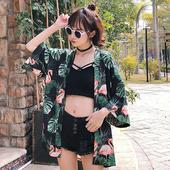 上衣 原宿风宽松复古花朵印花和服防晒衣外套学生短袖 春夏女装 韩版