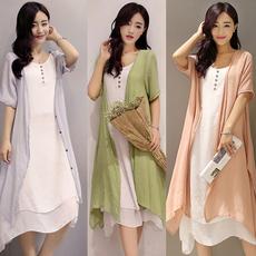 短袖棉麻连衣裙夏季两件套装女文艺复古休闲半身裙亚麻布过膝长裙