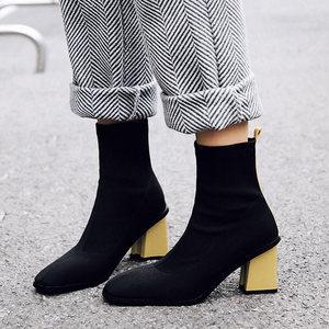 2018秋冬新款高跟<span class=H>短</span>靴女欧美时尚方头<span class=H>粗跟</span><span class=H>女靴</span>显瘦靴子真皮弹力靴