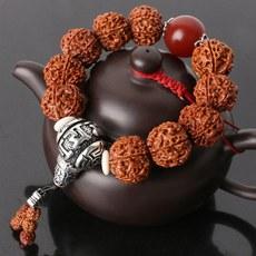 正宗天然尼泊尔大金刚菩提子手串男士五六瓣原籽红皮文玩佛珠手链