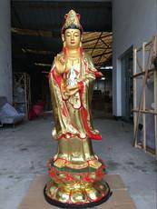 工厂佛教用品 树脂佛像玻璃钢 鎏金彩绘1米3站观音菩萨 贴金观音