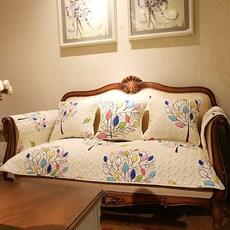 时尚简约幸运树组合沙发垫全棉防滑布艺皮沙发坐垫沙发巾罩可定制