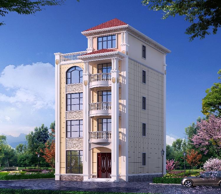 四層半豪華歐式別墅設計圖紙農村自建房戶型5五層全套施工效果圖