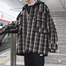 港风2018春季格子外套男士韩版加厚翻领上衣BF学生宽松帅气夹克潮