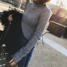 丢丢韩国秋冬韩版修身套头高领中长款螺纹白色针织衫内搭毛衣女