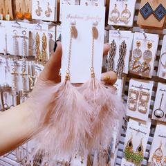 羽毛耳环韩国新款显脸瘦的耳钉气质个性百搭网红长款流苏耳饰品女