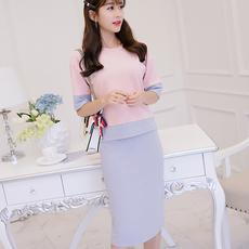 彩黛妃2017秋冬新款大码韩版中袖时尚显瘦T恤两件套女套装连衣裙