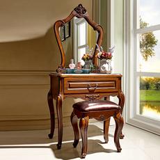 美式梳妆台卧室小户型实木化妆台迷你梳妆桌新古典欧式化妆柜带凳