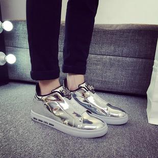 2017春款运动休闲鞋男士板鞋麦昆情侣鞋银色亮面漆皮韩版时尚潮鞋