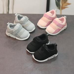 2018春季男宝宝运动鞋婴幼儿软底学步鞋0-1-3岁女童透气网布休闲