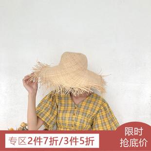 红黄两色格子连衣裙女夏装2018新款韩版复古开叉收腰V领棉麻裙子