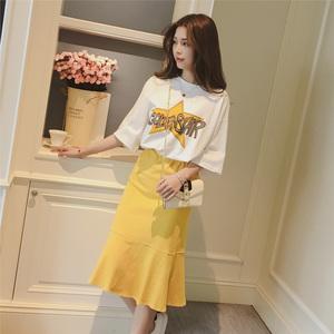 春夏季新款韩版字母短袖t恤休闲套装女荷叶边中长款半身裙两件套