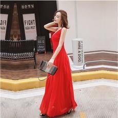 2016夏新款显胸性感V领高弹力开叉气质红色连衣裙度假沙滩裙长裙
