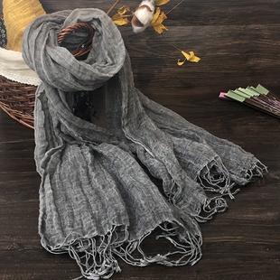 春季灰色棉麻围巾女夏百搭薄款2019新款纯色亚麻丝巾文艺范复古流