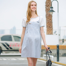 Huaitai New Pregnant Women's Dress Summer Pure Cotton Checker Fake Two Pregnant Women's Loose Size Fake Two Short Sleeve Skirts