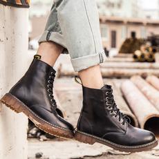 夏季马丁靴复古英伦男靴工装靴内增高短靴真皮大头鞋男高帮大码鞋