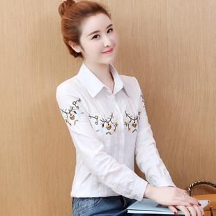 纯棉衬衣2019春装新款女装上衣绣花打底衫翻领气质白色衬衫女长袖