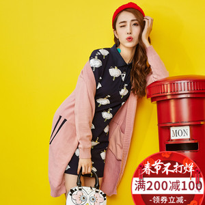 2017秋装新款长袖针织衫女中长款外搭开衫韩版宽松时尚毛衣外套潮