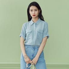 范思蓝恩短袖衬衫女2017夏装新款显瘦韩版宽松百搭立领衬衣打底衫