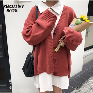 毛衣女开衫秋冬港风chic宽松气质V领慵懒针织衫外套上衣学生毛衣