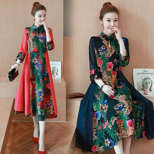 2019夏季大码女装气质长袖印花修身中式改良旗袍民族风棉麻连衣裙