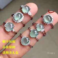 天然翡翠戒指镶嵌s925纯银蛋面指环玉石戒指女冰种老坑正品缅甸