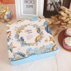 蓝色8寸芝士裸蛋糕盒千层蛋糕盒80克月饼包装盒曲奇饼干伴手礼盒