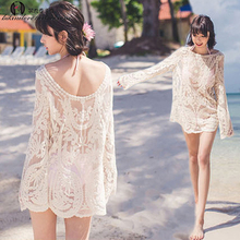 Seaside Korean Bohemian long-sleeved hooked leisure bikini jacket, bathing suit and sunscreen outfit on the beach