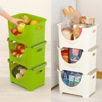 日本进口果蔬叠加收纳筐落地多层多功能厨房用品蔬菜水果置物架