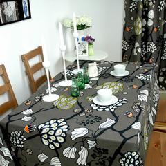 艾沫_浮世-幻_桌布台布餐桌布桌垫_纯棉布艺_黑白花鸟_欧式时尚