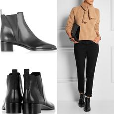 Oui 2015韩版秋季新款尖头粗跟短靴女 真皮磨砂靴马丁靴女及裸靴