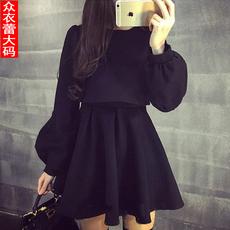 2016秋装新款胖妹妹加肥加大码女装长袖连衣裙胖MM显瘦打底裙子潮
