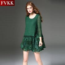 女装 新品 FVKK2018春装 假2件连衣裙韩版 蕾丝镂空大摆A字裙连衣裙